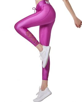 Letters Printed Shiny Sport Leggings