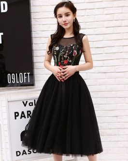 Flowers Embroidered Tea Length Party Dresses