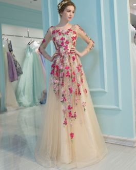Long Sleeve Homecoming Flowers Embroidered Rhinestones Beaded Floor Length Dress