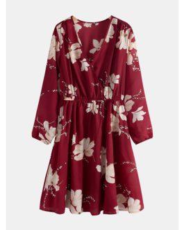 Women Long Sleeve V-neck Floral Print Mini Dress