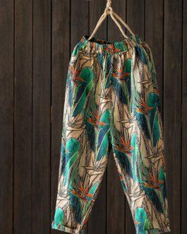 Loose Floral Print Elastic Waist Side Pockets Trousers Pants