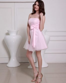 Lovely Strapless A-line Bow Tulle Elegant Cocktail Dress