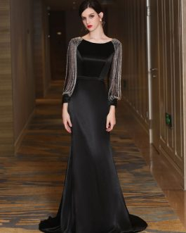 Luxury Mermaid Mother Long Sleeve Chains Beading Formal Occasion Dresses With Train