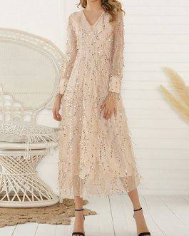 Maxi Dresses Long Sleeves V Neck Maxi Layered Sequined Long Dress