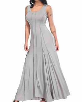 Maxi Dresses Sleeveless Cotton Blend Floor Length Dress