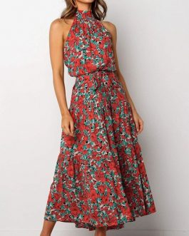 Maxi Dresses Sleeveless Printed Jewel Neck Polyester Long Dress