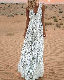 Maxi Dresses Sleeveless Split Front Polka Dot V Neck Pleated Layered Polyester Floor Length Dress