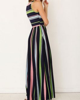 Maxi Dresses Sleeveless Stripes Jewel Neck Cotton Blend Floor Length Dress