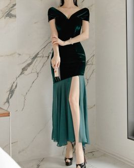 Maxi Dresses Sleeveless Two-Tone V Neck Split Front Stretch Polyester Long Dress