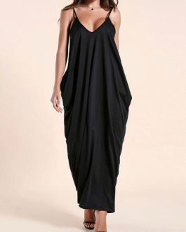 Maxi Dresses Sleeveless V Neck Layered Polyester Long Dress