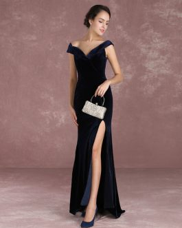 Mermaid Celebrity Dresses Velvet Off The Shoulder Evening Dress With Train Inspired By Taraji P. Henson At Oscar