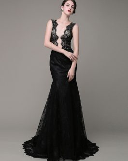 Mermaid Evening Dress V-Neck Lace Illusion Backless Court Train Celebration Dress