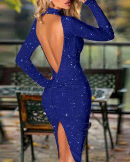 New Halter Backless Slit Bodycon Slim Bright Shiny Party Dress