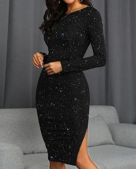 Elegant Shiny Slim Bright Silk Backless Long Sleeve Party Dress
