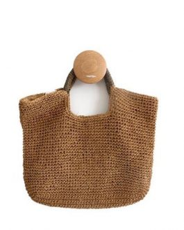 New Hot Rattan Handle Knitted Handmade Bags