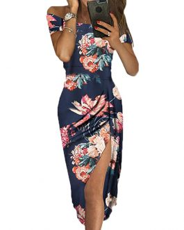 Off Shoulder Floral Print High Slit Midi Evening Party Dress