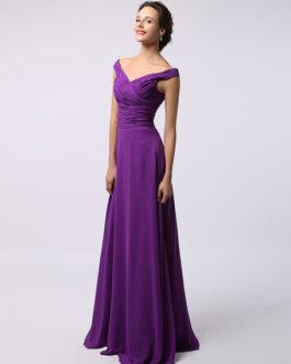 Off Shoulder Ruched Chiffon Bridesmaid Dress