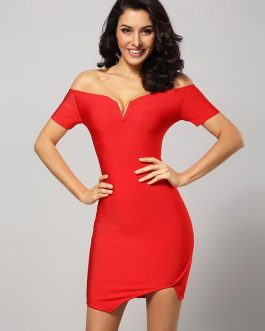 Off Shoulder V Neck Bandage Club Party Bodycon Dresses