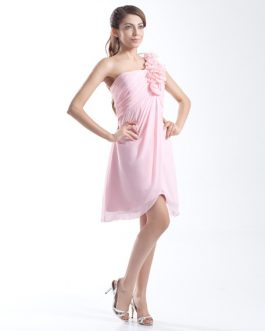 One-Shoulder Knee-Length Flower Chiffon A-line Bridesmaid Dress