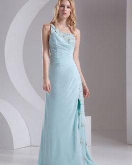 One Shoulder Ruched Straps Split Party Bridesmaid Dress