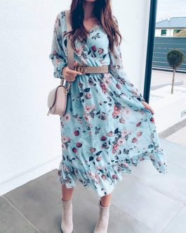 Plus Size Floral Print Boho Ruffles Beach Dress