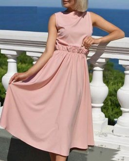 Plus Size Ruffles Sleeveless Casual Midi Dress