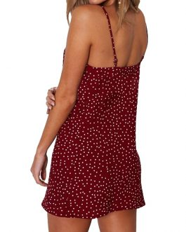 Polka Dot Print Casual Beach Strap Mini Dress