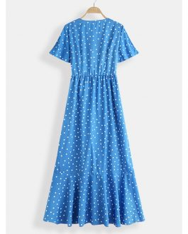 Polka Dot Print V-neck Beach Holiday Causal Maxi Dress