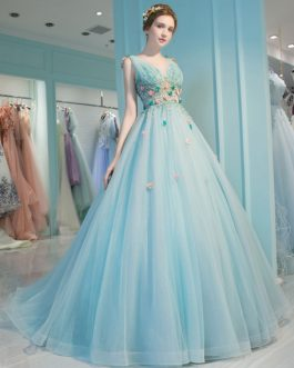 Princess Quinceanera Backless V Neck Flowers Illusion Pageant Dresses