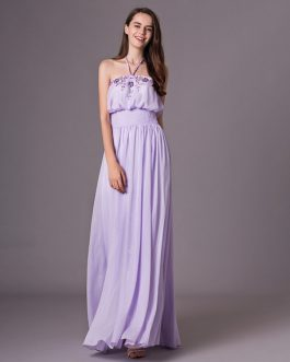 Prom Dresses Long Halter Bridesmaid Dress Rhinestones Chiffon Backless Pleated Party Dress