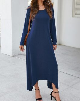 Pure Color O-neck Long Sleeve High Low Hem Dress