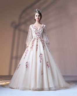Quinceanera Embroidered Pearls Beaded Long Sleeve V Neck Princess Pageant Dresses