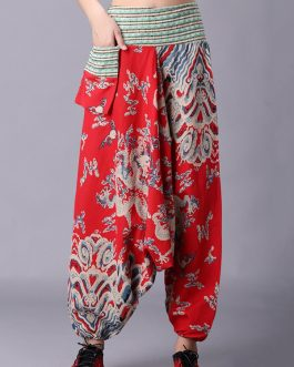 Retro Folk Style Print Elastic Waist Pants