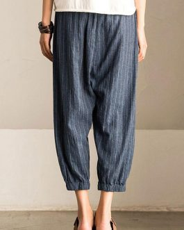 Retro Striped High Elastic Waist Casual Loose Harem Pants