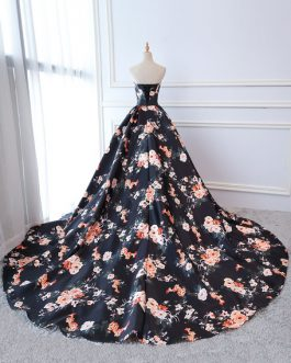 Quinceanera Dresses Floral Print Satin Strapless Sweetheart Women Pageant Dress Chapel Train