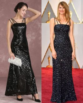 Sequined Sheath Evening Dresses Oscar Red Carpet Dress Inspired By Laura Dern