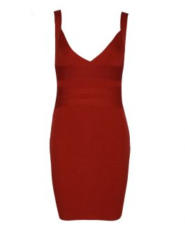 Sexy Deep V Sleeveless Rust Rib Rayon Bodycon Dress