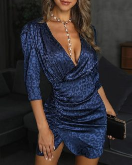 Sexy Deep V-neck Fashion Irregular Mini Short Slit Party Dresses