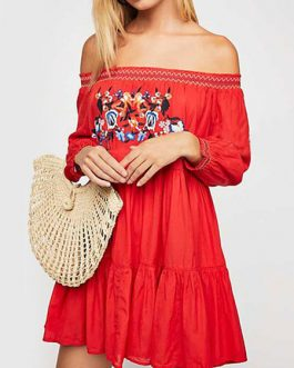 Sexy Skater Bateau Neck Long Sleeves Embroidered Bohemian Flared Dresses