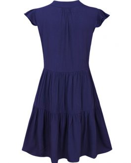 Sexy Skater V Neck Ruffles Short Sleeves Flared Dresses