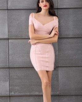 Sexy Sleeveless V Neck Bodycon Bandage Mini Dress