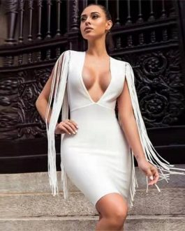 Sexy V Neck Elastic Tassel Bodycon Party Mini Dress