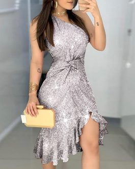 Sexy Waist Twisted Shiny One-shoulder Sequin Bodycon Party Dress