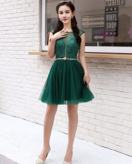 Short Homecoming Dresses Tulle Illusion Sash Mini Cocktail Dresses