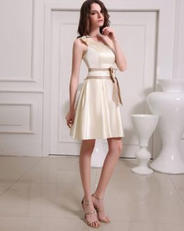 Short One-Shoulder Satin Bridesmaid Dress