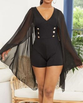 Short Sleeve Chiffon Batwing Sleeve Plunge V Neck Casual One Piece Rompers