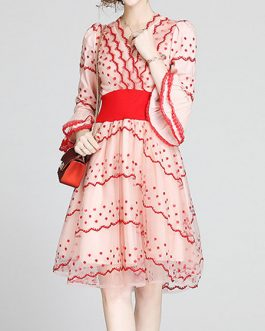 Skater Polka Dot Tulle V Neck Embroidered Retro Long Sleeves Flared Dresses