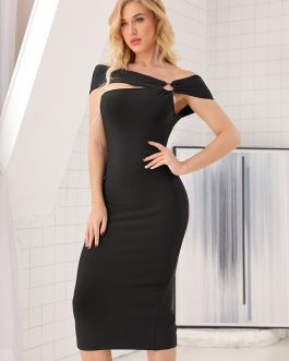 Slash Neck Off the Shoulder Hollow Out Bandage Dress