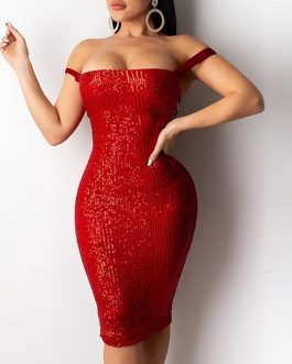 Slim Shiny Backless Cross Strap Bow Bodycon Strapless Sequin Dresses
