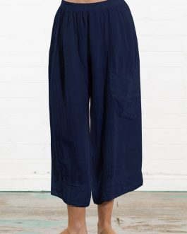 Solid Color Cotton Elastic Waist Loose Wide Leg Pants with Pocket